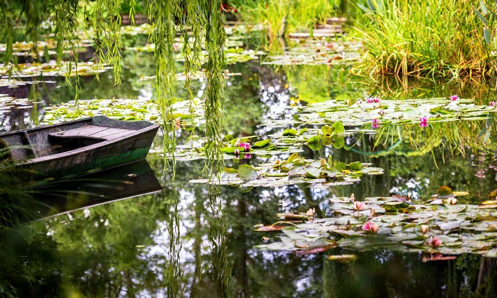 Monet's Gardens and lake with water lilies at Giverny, Normandy,
